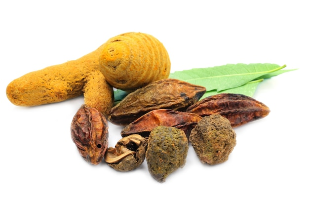 A combination of ayurvedic medicine on white background