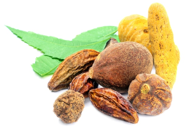 A combination of herbal foods on white background