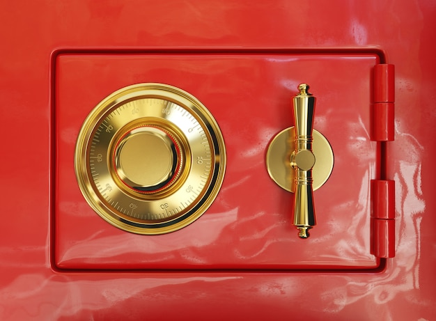 Combination lock on a red bank safe, 3d illustration
