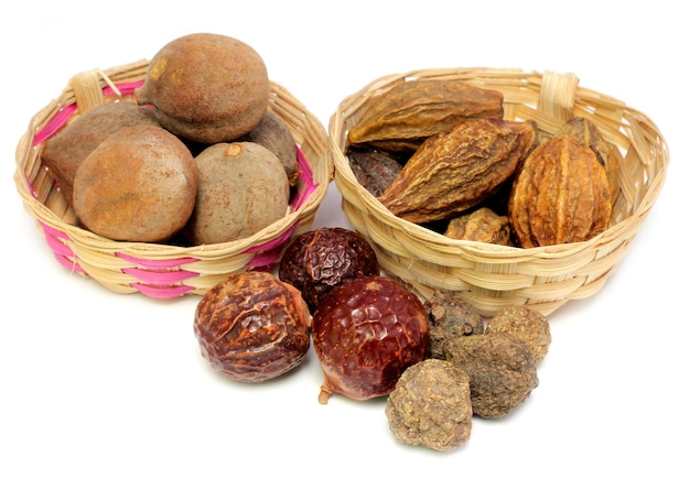 Combinations of herbal medicinal fruits in bamboo basket have property medicine.
