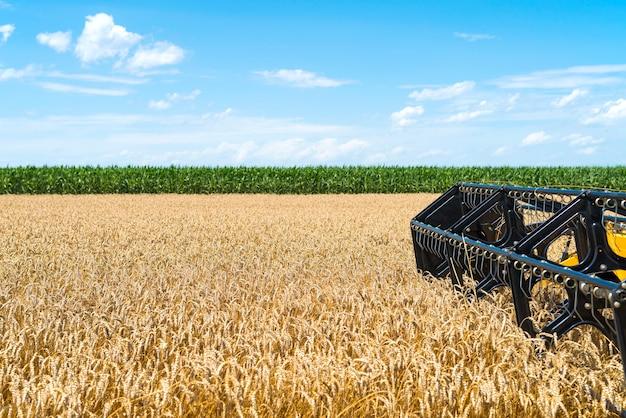 현장에서 일하는 수확기를 결합