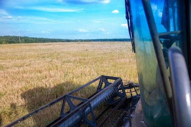 Комбайн работает на пшеничном поле сезонной уборки урожая пшеницы