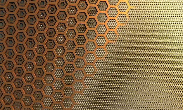 Combined background, bee honeycombs small and large