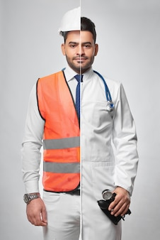 Combined portrait of a man dressed in constructionist uniform and labcoat architector engineering building construction doctor medical worker medicine healthcare insurance safety.