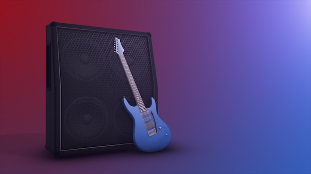 Combo amplifier with electric guitar