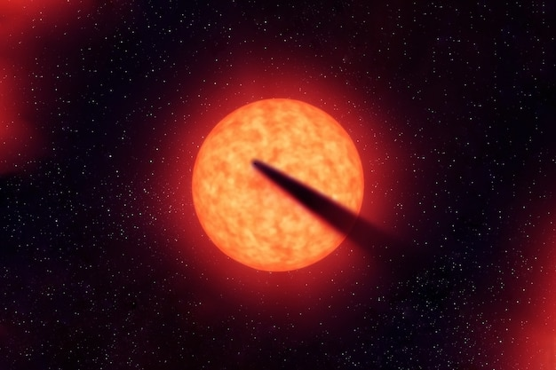 Comet on the background of the sun. elements of this image were furnished by nasa. high quality photo