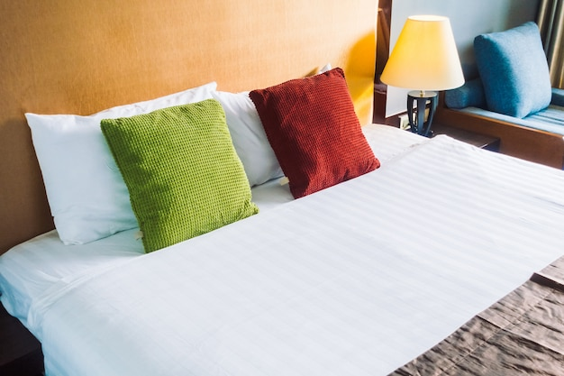 Comfort pillow on bed decoration interior