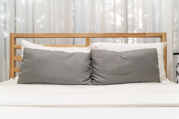Comfort pillow on bed interior decoration