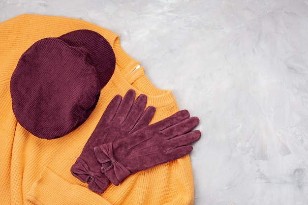 Comfortable autumn, winter clothes shopping, sale, style in trendy colors