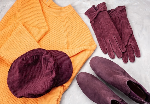 Comfortable autumn winter clothes in trendy colors