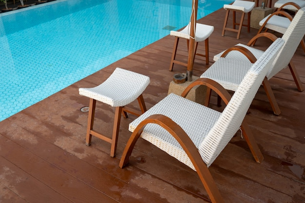 Comfortable chair at the swimming pool, modern chair.