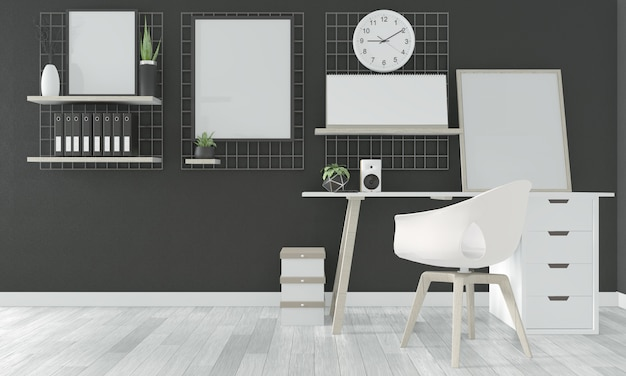 Comfortable office and decoration on black room floor wooden white. 3d rendering