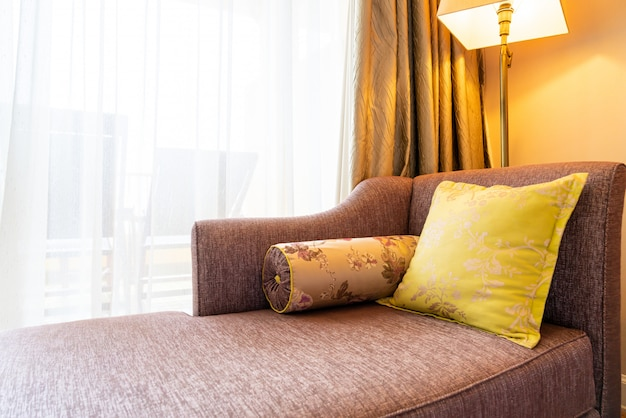 Comfortable pillow decoration on sofa bed
