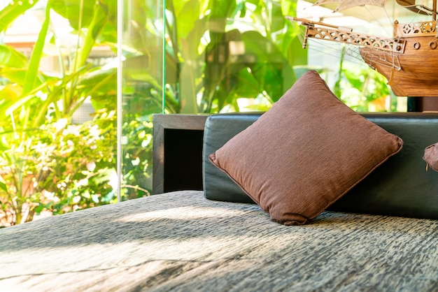 Comfortable pillow decoration on sofa at relax area zone