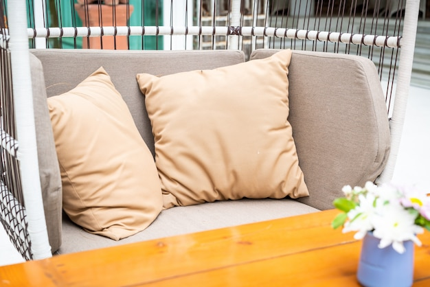 Comfortable pillow on outdoor patio