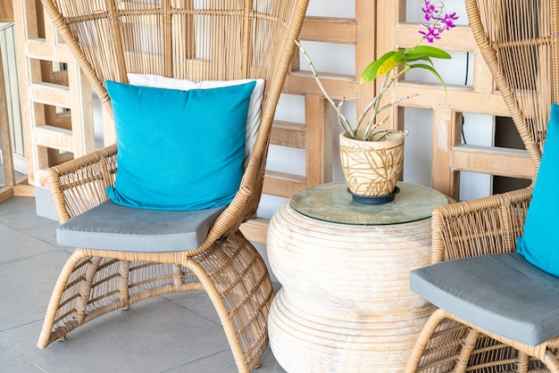Comfortable pillow on patio chair