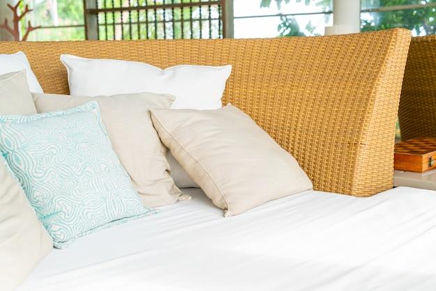 Comfortable pillows on big sofa