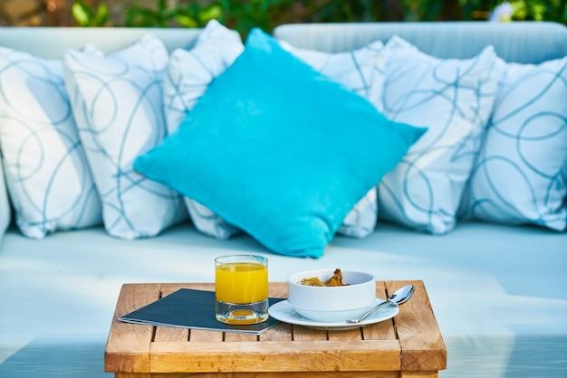 Comfortable seats and pillows in the garden