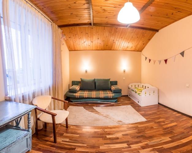 Comfortable small bed in cozy children's bedroom