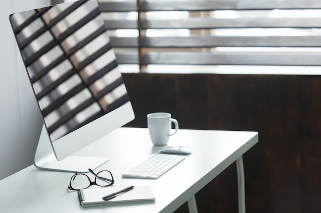 Comfortable work table in office