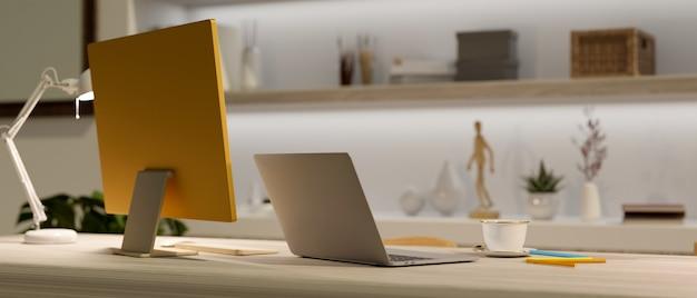 Комфортное рабочее пространство с компьютером и ноутбуком, размытый декор комнаты на фоне 3d-рендеринга