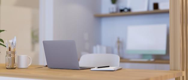 Удобное рабочее место с канцелярскими принадлежностями для ноутбука и инструментами для рисования на деревянном столе 3d иллюстрация