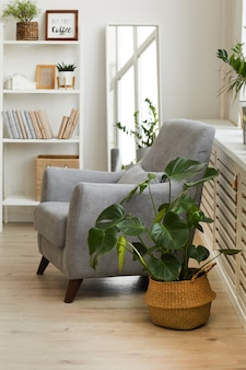 Comfy grey armchair in cozy nook of modern scandinavian home decorated with plants