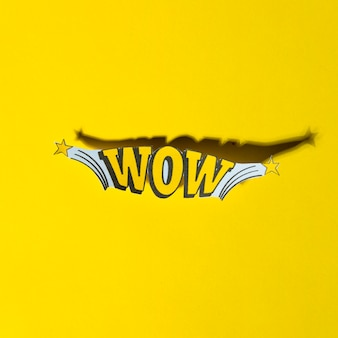 Comic lettering wow in retro pop art style with shadow