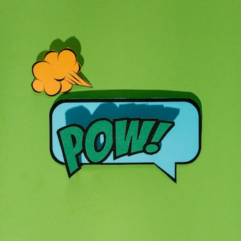 Comic speech bubbles with emotions pow text on green background