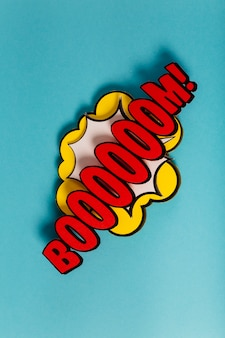 Comic wording sound effect pop art on colored background