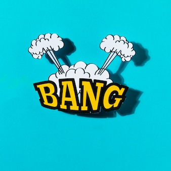 Comics explosion abstract style with text bang on turquoise backdrop