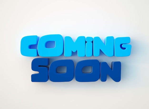 Coming soon cartoon 3d text