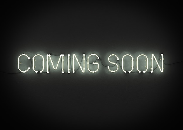 Coming soon neon sign on dark background 3d rendering