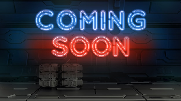 Coming soon neon sign. red and blue glow. neon text. night lighting on the wall.