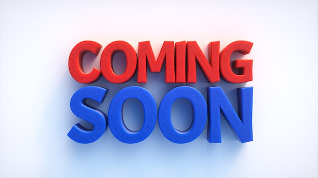 Coming soon red and blue 3d text over a white surface