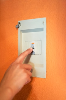 Command cutting the general power of the house or the company, electrical energy saving concept