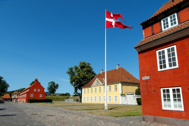 The commander's house and the colorful historic buildings in the kastellet fortress