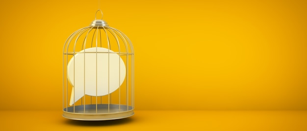 Comment icon on a cage concept 3d rendering