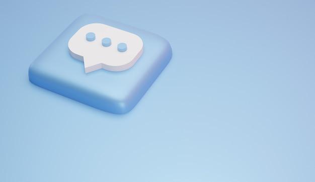 댓글 아이콘 및 로고 최소한의 3d 렌더링