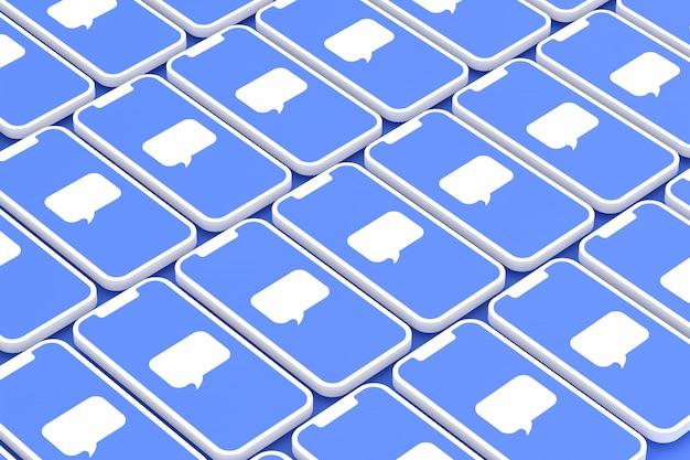 コメントソーシャルメディアの背景画面にスマートフォンまたはモバイル3 dレンダリング