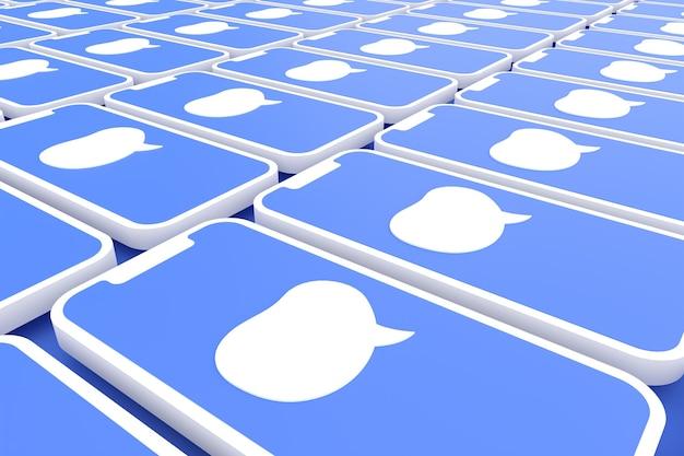 画面スマートフォンまたはモバイル3dレンダリング上のコメントソーシャルメディア