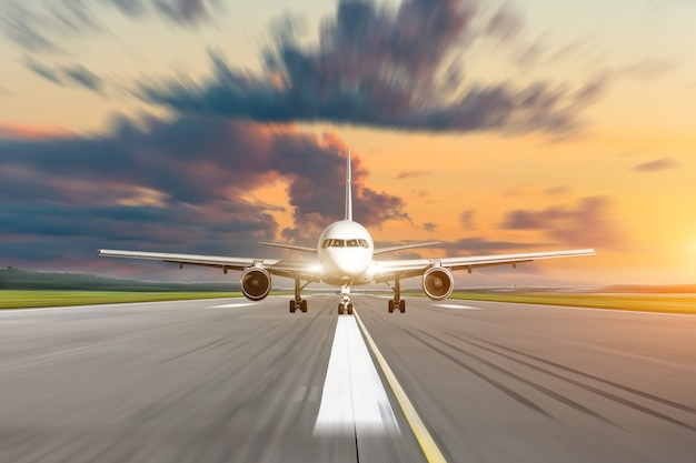 Commercial airplane accelerates on runway airport at sunset at a speed motion blur.