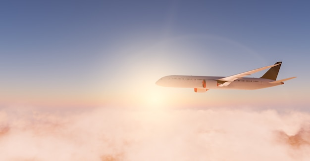 Коммерческий самолет пролетел над облаками