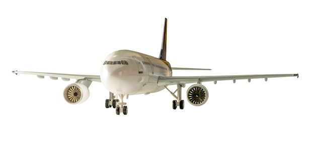 Коммерческий самолет, изолированные на белом фоне с обтравочным контуром