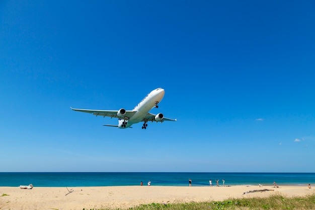 Commercial airplane landing above sea and clear blue sky over beautiful scenery nature background