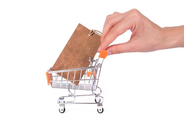 상업 소비 개념입니다. 측면 프로필 흰색 배경 copyspace 텍스트에 대 한 빈 장소에 고립 된 손 홀링 추진 카트 내부 가격표와 함께 pushcart의 사진을 닫습니다