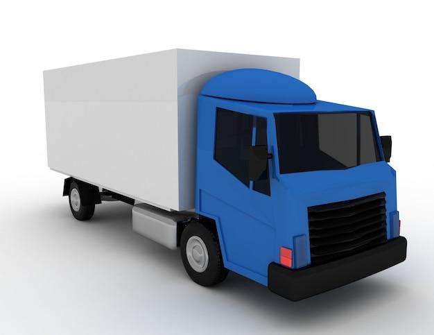 상업용 배송. 화물 트럭 개념. 3d 렌더링 된 그림