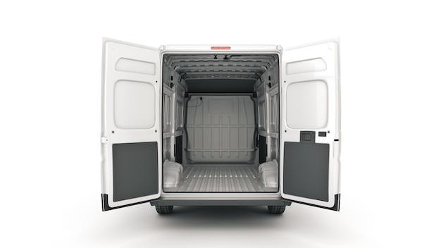 상업 배달 밴 운송 서비스 회사 3d 렌더링