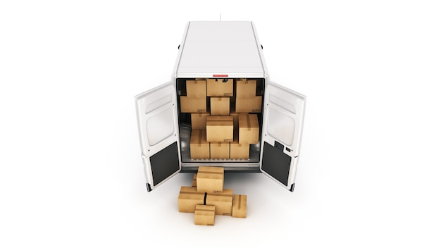 판지 상자 3d 렌더링 상업 배달 밴