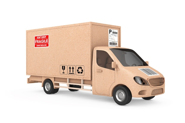 Commercial industrial cargo delivery van truck as carton parcel box on a white background. 3d rendering